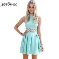 SEBOWEL 2017 Blue Sleeveless Turtleneck Lace Stitching Mint Casual Women Dress Party Summer Dress Slim Vestidos