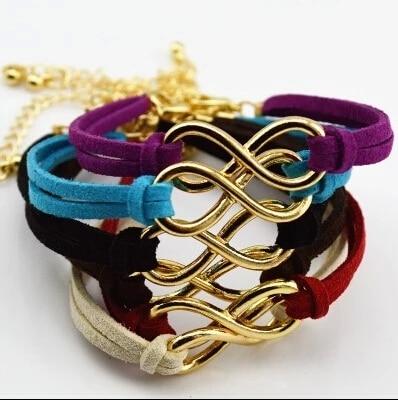 SL103 Hot Boho Punk Bijoux Fashion Vintage Infinity 8 Leather Bracelets For Women Gift Wholesale Bangles Men Jewelry pulseras