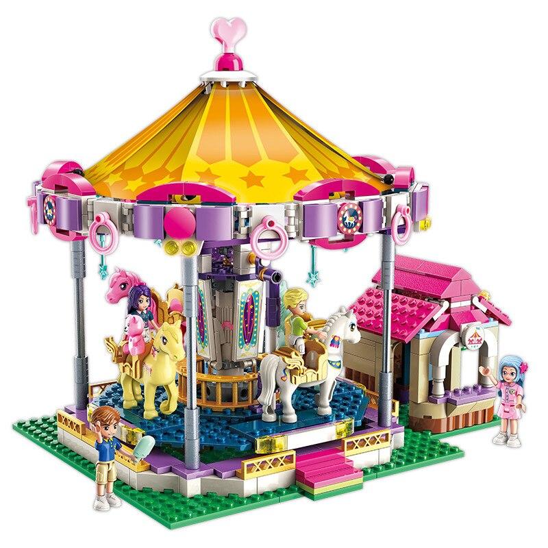 646 stücke Fantasie karussell bausteine spielzeug Kompatibel Legoingly freunde stadt Für Mädchen DIY zahlen Bricks Pädagogisches Spielzeug geschenk-in Sperren aus Spielzeug und Hobbys bei AliExpress - 11.11_Doppel-11Tag der Singles 1