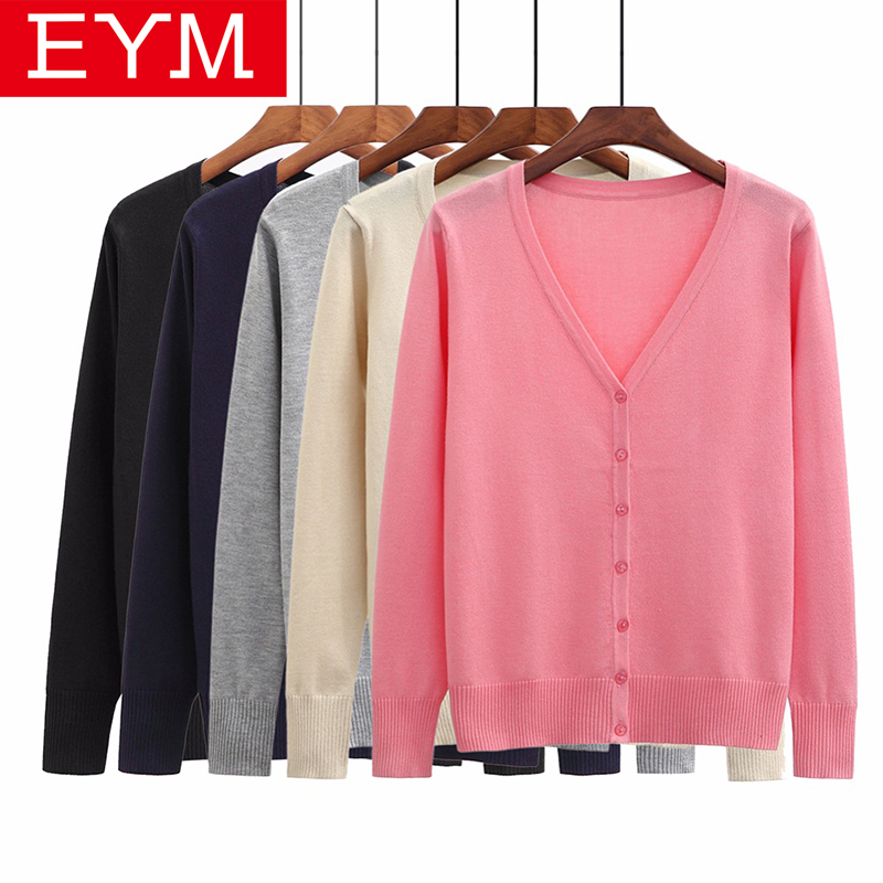 2018 New Sweater Women Plus Size Za Simple Style Cardigan Knitted Sweater Coat Long Sleeve Female Casual V-Neck Woman Tops Femme