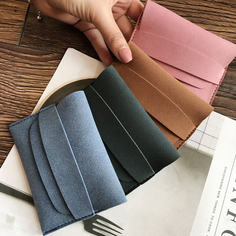 BLEVOLO Small Wallet Women Cute Student Coin Purses Mini Money Pocket Frosted Female Short Wallet Soft Coins Bag Pumping Belt