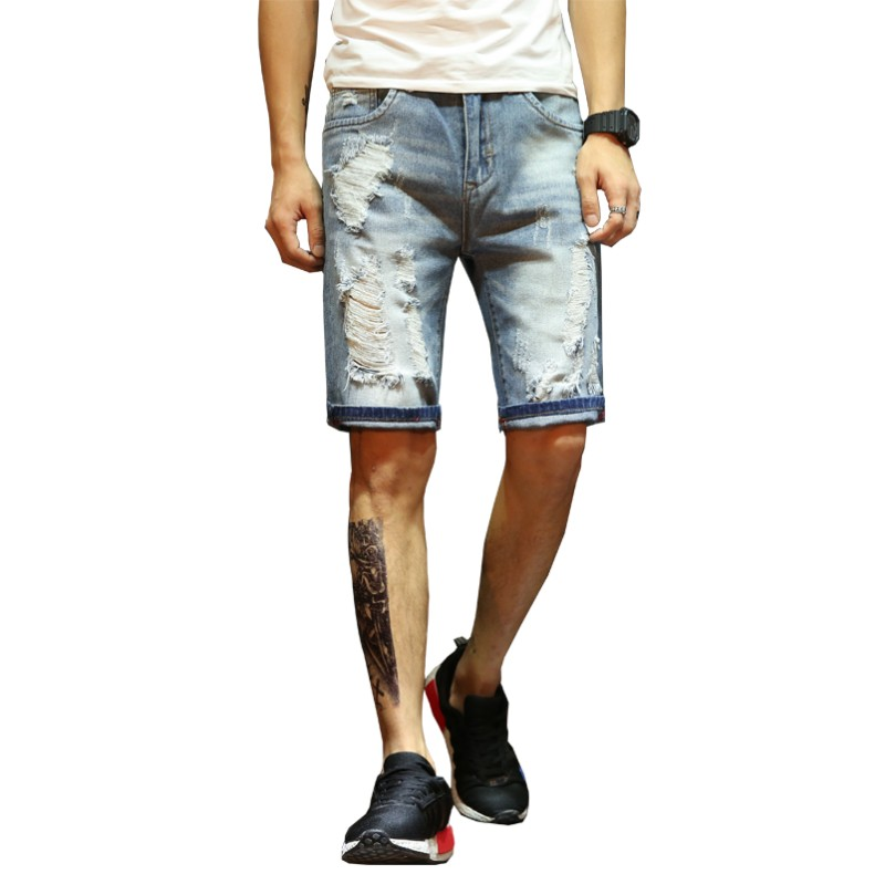 Summer Men Leisure Regular Denim Shorts Quality Cotton Slim Straight Ripped Hole Casual Man Jean Short