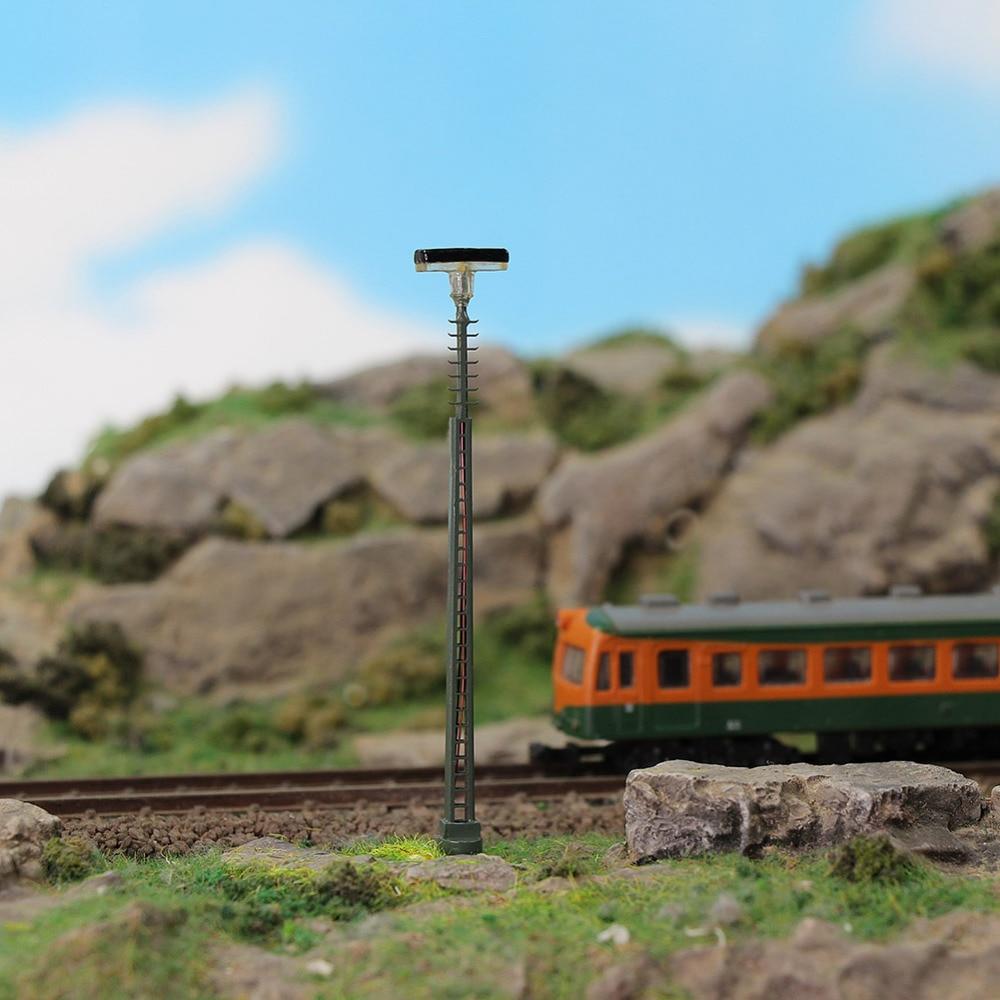3pcs N Scale Lamp Post 75mm 1:150 Ladder Street Lights Fish-bone Shaped Post Model Railway Train LEDs Miniature LQS63N