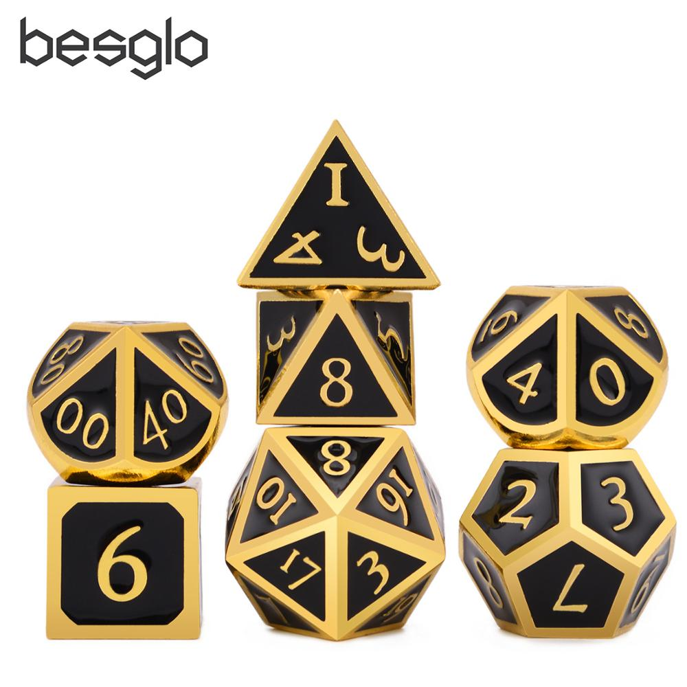 DnD Metal Dice Gold With Black Enamel Italic Font For DnD RPG MTG And Math Teaching