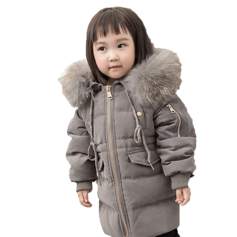 2018 Kids Warm Outerwear Hooded Coat Children Jacket Boys Girls Winter Down Coat Baby Thick Coats Real Fur Collar Overcoat E274 2017 new kids long parkas for girls fur hooded coat winter warm down jacket children outerwear infants thick overcoat 3t 14t