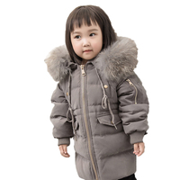 2018 Kids Warm Outerwear Hooded Coat Children Jacket Boys Girls Winter Down Coat Baby Thick Coats Real Fur Collar Overcoat E274