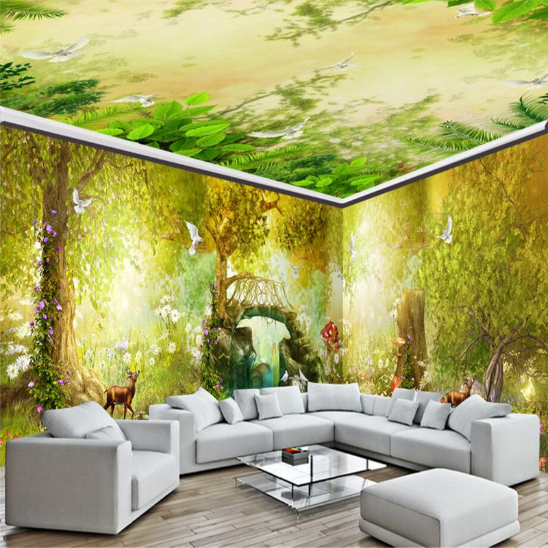 Beibehang Dream Fairy Tale Forest Bridge House 3d Photo