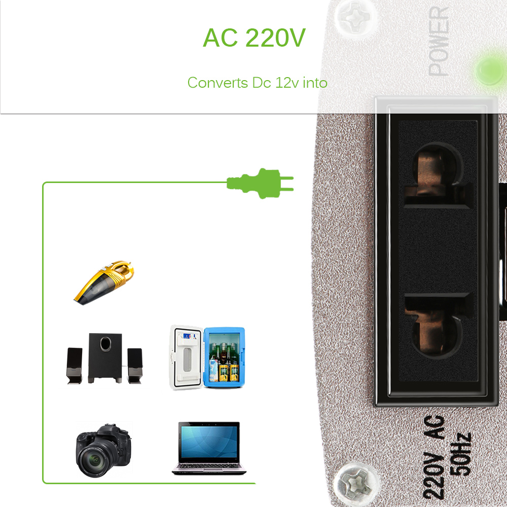 Car Power Inverter Converter 200W DC 12V to AC 220V Modified Sine Wave Power with USB 5V Output 18
