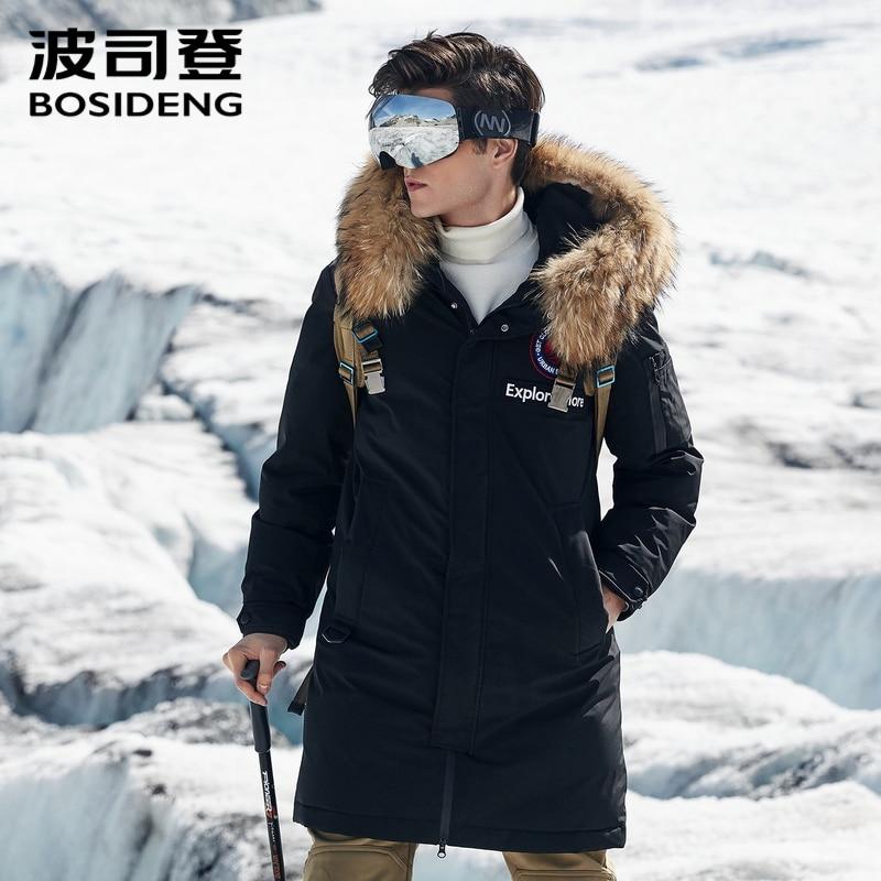 BOSIDENG 2018 nuovo piuma d'oca giacca per gli uomini duro inverno addensare outwear reale collo di pelliccia impermeabile antivento B80142147