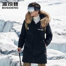 Bosideng nova jaqueta grossa para homens, inverno, grossa, gola de pele real, à prova d água, à prova de vento b80142147