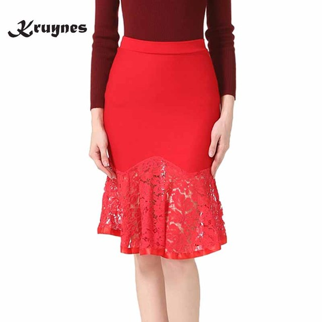 42980ff1e3248 Fashion Spring Summer Women Sexy Slim Pencil Skirt High Waist Stretch Lady  Black Lace Patchwork OL Office Skirts Plus Size