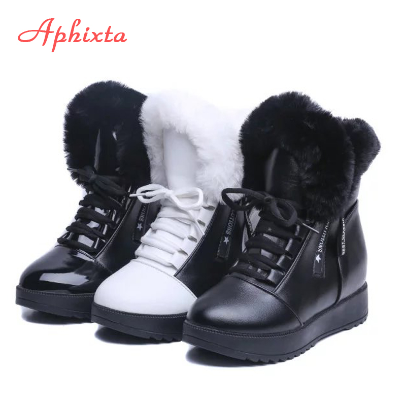 APHIXTA Hot Sale Shoes Women Snow Boots Warm Lace-Up Soft Crystal Height Increasing Winter Waterproof Fur Mid-calf Black Boots