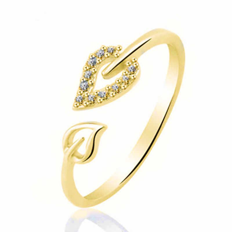 NJ3 Mới Vàng Thời Trang-Màu sắc Lá Nhẫn cho Nữ Phong Cách Hàn Quốc Kích Thước Điều Chỉnh Vòng Bán Cưới bộ trang sức Bán Buôn