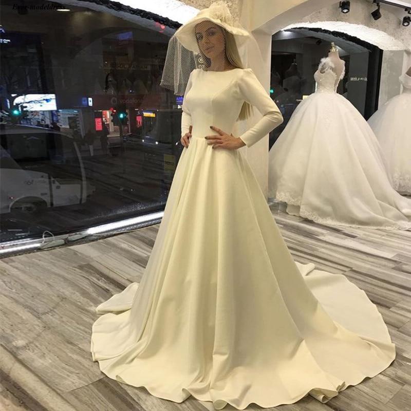 vestido de casamento Long Sleeves Satin 2019 Wedding Dresses Scoop A-Line Buttons Simple Cheap Bridal Gown Custom Made Plus Size