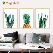 Cactus Wall Art Pineapple Posters And Prints Canvas Painting Nordic For Living Room Decor Unframed
