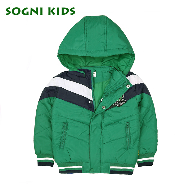 SOGNI KIDS Boys Winter Hooded Jackets And Coats Baby Boy Patchwork Cotton padded jacket Parkas kids boys wram Zipper outerwear baby boys winter coats jacket children hooded outerwear kids warm cotton padded clothes infant parkas