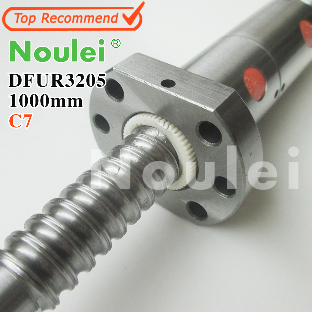 Noulei CNC Rolled Ballscrew 3205 -L 1000mm DFU3205 ball screw with one Double ballnut 2018 top fashion new steel thrust bearing 2pcs cnc rolled ballscrew 2510 l 2500mm dfu2510 ball screw with double ballnut