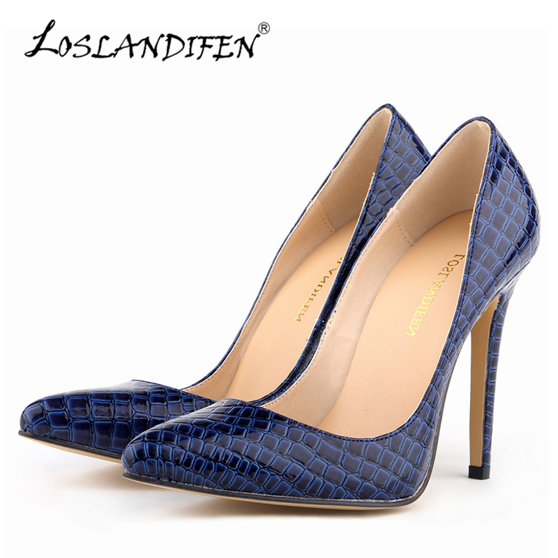 LOSLANDIFEN Classic Women Pumps Pointed Toe Sexy High Heels Shoes Woman Faux Crocodile Summer Autumn Wedding Dress Shoes 302-1EY river treasure water sport toys inflatable water seesaw