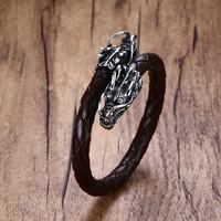 Elastische Verstelbare mannen Bruin Blauw Zwart Gevlochten Lederen Wrap Armband Polsband met Stalen Draken