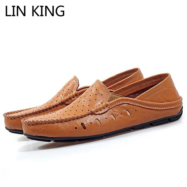 LIN KING Lazy Shoes Breathable Pierced Leather Slip On Low-top Soft Sole Flat Shoes Solid Casual Loafers Men Office Shoes