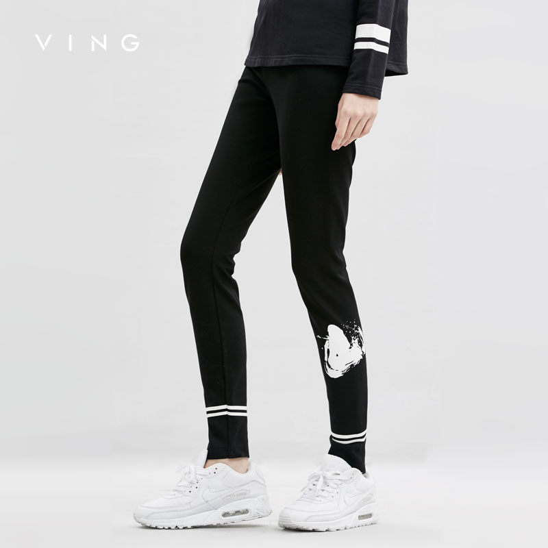 VING Winter Casual Leggings Women Fashion Stretch Slim Ladies Leggings Ankle-Length Black new fashion slim women leggings faux denim jeans long note printing spring summer leggings casual ankle length pencil pants