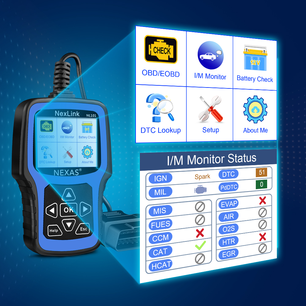 Image 2 - NEXAS NL101 OBD2 Automotive Scanner Engine EVAP Battery OBDII Scanner PK CR3001 ELM327 Professional EOBD OBD Car Diagnostic Tool-in Engine Analyzer from Automobiles & Motorcycles