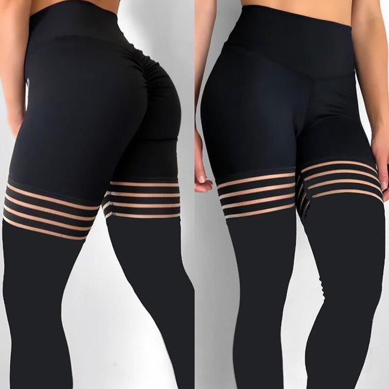 NORMOV Sexy pantalones de Yoga mujeres de cintura alta malla deportiva Leggings Pantalon deporte Femme gimnasio Leggings negro Push Up pantalones de Yoga