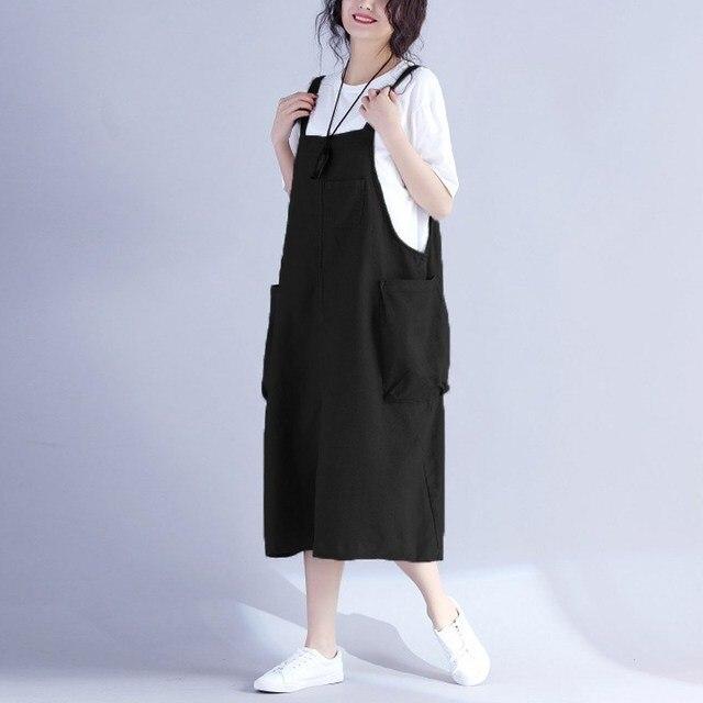 bf3292e983 ZANZEA Female Vestido Women Vintage Retro Bib Overalls Pockets Sleeveless  Dungarees Strappy Baggy Dress Casual Loose Sundress
