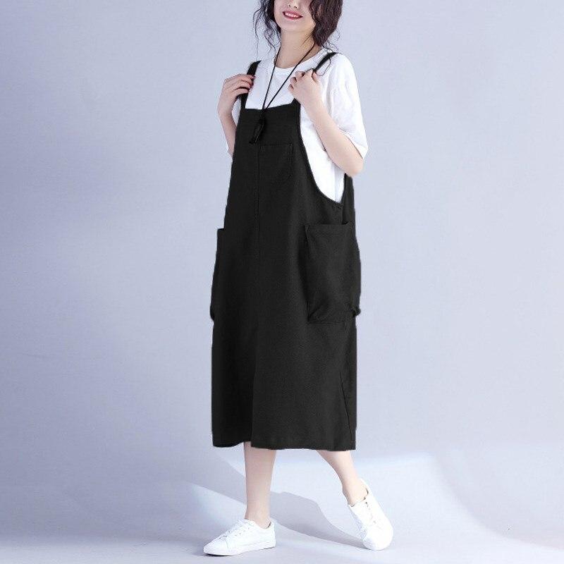 ZANZEA Female Vestido Women Vintage Retro Bib Overalls Pockets Sleeveless Dungarees Strappy Baggy Dress Casual Loose Sundress