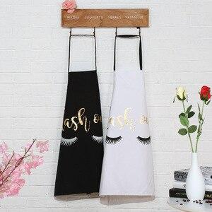 Image 1 - 1 sztuk moda brązujący bawełniany fartuch damskie fartuchy dla dorosłych domowe gotowanie pieczenie kawa sklep fartuchy do sprzątania akcesoria kuchenne