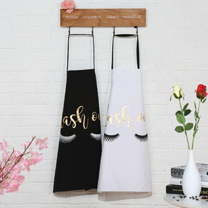 Fashion Eyelash Love Bronzing Cotton Apron Women Adult Bibs Home Cooking Baking Coffee Shop Cleaning Aprons Kitchen Accessories(China)