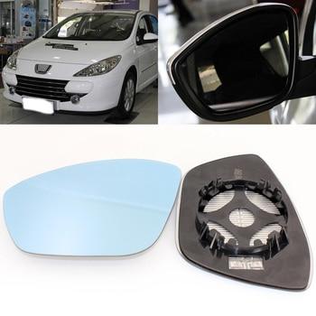 Per Peugeot 307 2008-2013 Vista Laterale Specchio Della Porta di Vetro Blu Con Base Riscaldata 1 Coppia