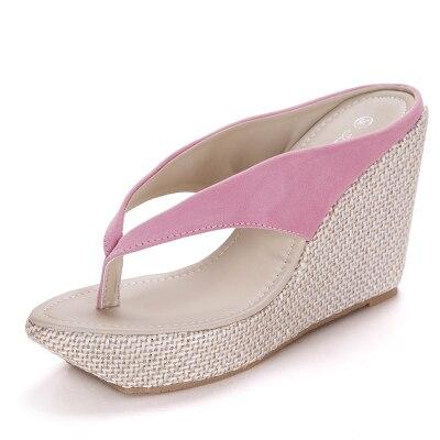 Женские домашние сандалии модные босоножки-вьетнамки на платформе Босоножки на танкетке пляжные шлепанцы на высоком каблуке размера плюс; большие размеры 33-41 - Цвет: pink