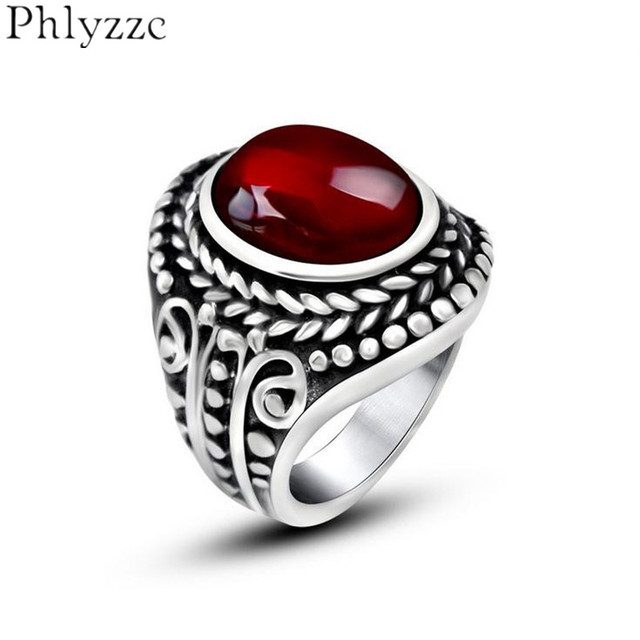 S Braid Bezel Set Red Black Stone Rings Mens Filigree Swirl Fl Ring Luxury Jewelry Stainless