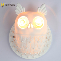 Modern owl Wall Lamp Sconce For Living Room Bedroom Wall Light Resi Body Glass Lampshade Bathroom Light Retro Lamp Home Lighting