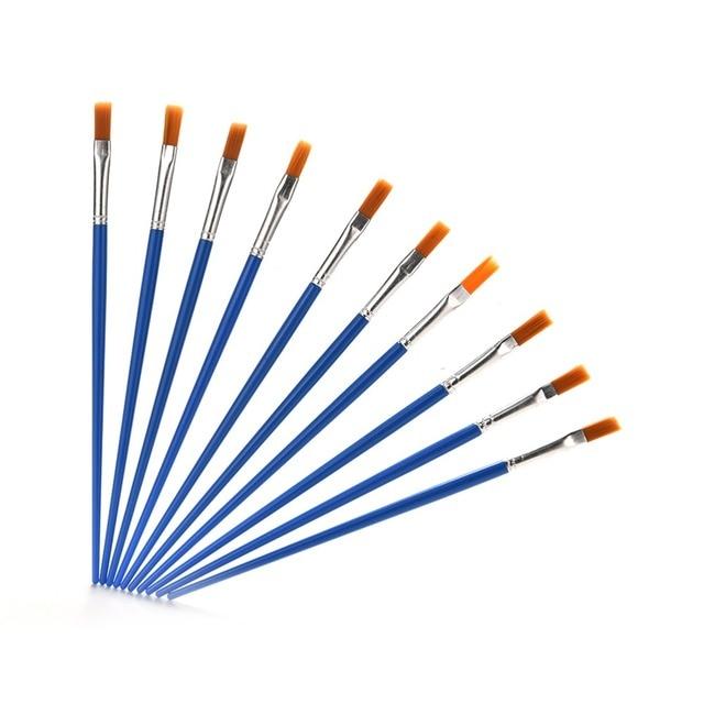Nuevos 10 piunids/lote niños pinceles de plástico juego de pinceles de acuarela Guache dibujo pintura arte brochas suministros