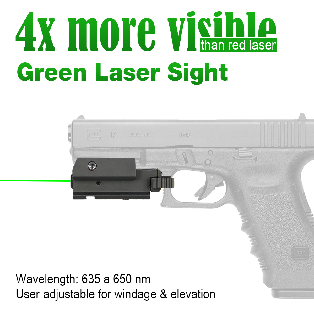 Tactical Pistol Green Laser Sight with 20mm Mounting System Fits on Most Pistols & Rifles Picatinny Rail/ Weaver Rail gs20-0018 hunting compact tactical green laser sight flashlight combo low profile pistol handgun light with 20mm picatinny rail