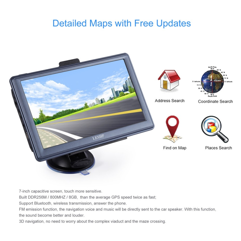7 inch HD Car GPS Navigation Capacitive screen FM 8GB/256MB DDR/800MHZ Automobile Navigator Vehicle Truck GPS Sat nav Map 5 inch hd car gps navigation cpu 800mhz fm 8gb ddr3 maps for europe us au truck navi camper caravan