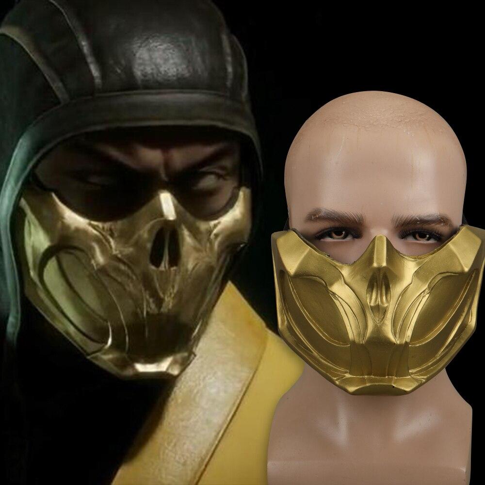 2019 New Mortal Kombat X Scorpion Hanzo Hasashi Sandal Wood Mask Half Face PVC Masks Adult Men Cosplay Costumes Halloween Mask (6)