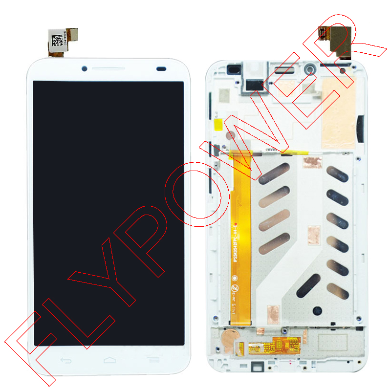 For Alcatel One Touch Idol 2 6037 OT6037 6037B 6037L LCD Display Screen + White Touch Screen Digitizer + Frame Assembly