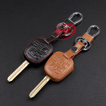 Hot sale car-cover 100% genuine leather car key cover for Toyota Tarago RAV4 Corolla Camry ,3 Button leather car remote key case