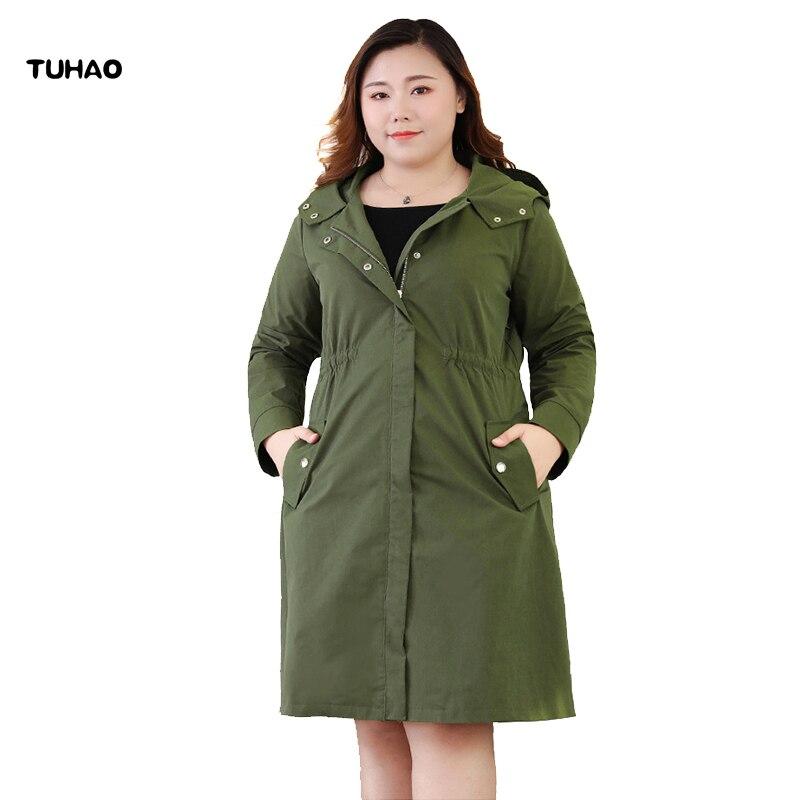 TUHAO Women 2019 Spring Autumn PLUS SIZE 10XL 9XL 8XL Office Lady Long Windbreak COATS Large Size Women Hooded   Trench   Coat MSFS