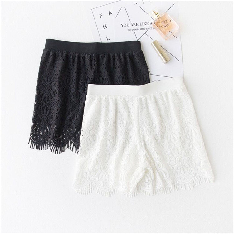 YRRETY Fashion Lace Shorts High Waist Women Summer Shorts Plus Size Sexy Lace Floral Hollow Shorts Black Summer Fitness Short