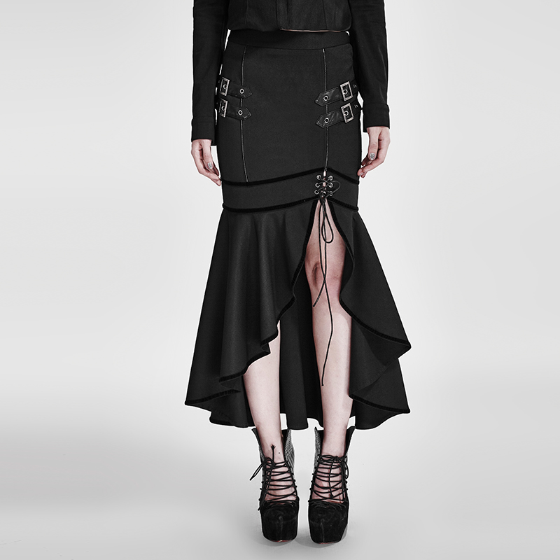 Steampunk Zwarte Militaire Uniform Stijl Punk Slit Hoge Taille Rok Sexy Dames Fishtail Slim Fit Lange Rokken