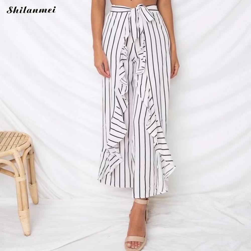 Fashion Summer Striped Trousers For Women Middle Waist Wide Leg Pants Female Casual Office Ladies Large Sizes Clothes Ukraine