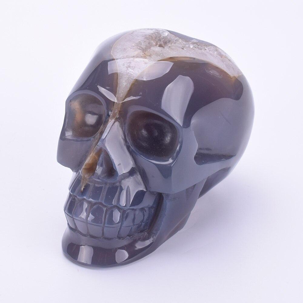 5 ''натуральный агат Geode резные реальное Исцеление Кристалл скульптура черепа энергии кварцевый хрустальный череп Резьба Статуэтка домашни