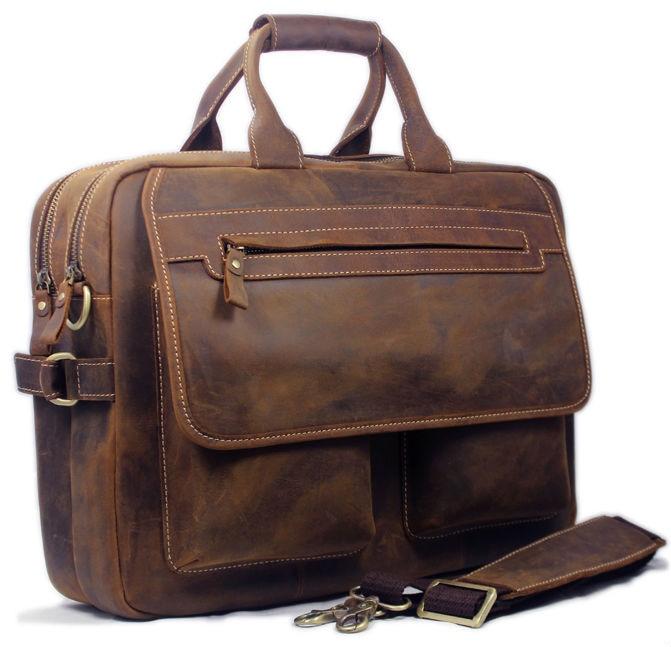 Vintage Men Leather Briefcase Handbags Business bag Crazy Horse Genuine Leather portfolio men briefcase male laptop