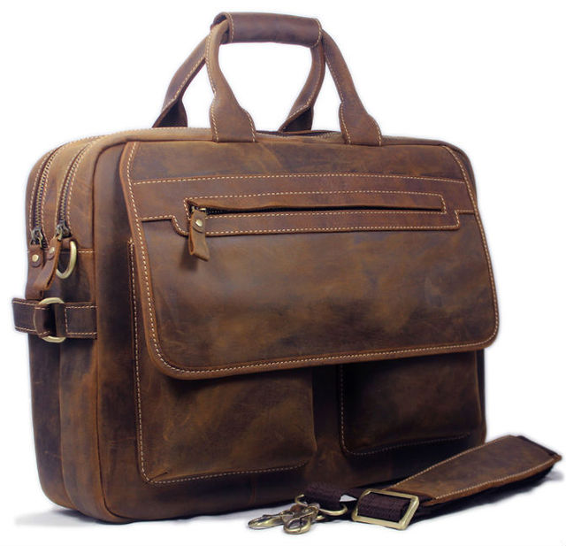 .com : Buy Vintage Men Leather Briefcase Handbags Business bag Crazy