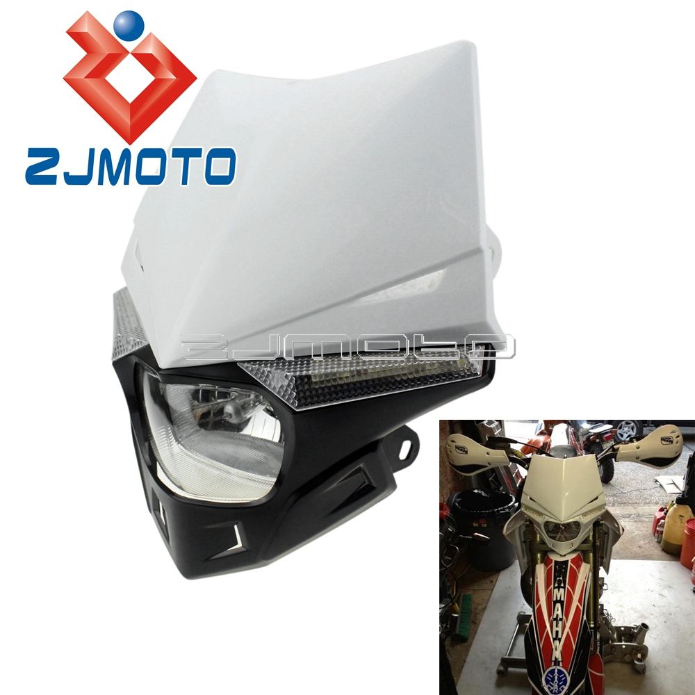 Pazoma Black Motorcycle Universal Headlight Off Road Legal Led Street Fighter Enduro Wire Diagram White Motocross Fairing For Ktm Crf Xr Wrf Yzf Drz Kx