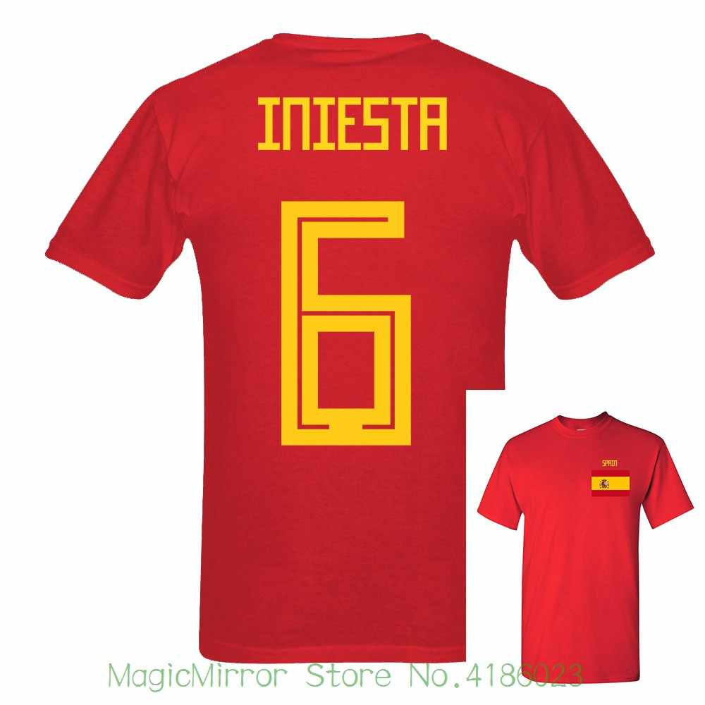 1e11074b647 goal Tee The New Match Cup Spain Iniesta Number 6 sporty jersey summer T  shirt Mens